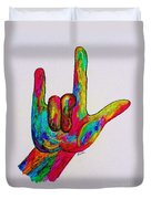 American Sign Language I Love You Duvet Cover by Eloise Schneider