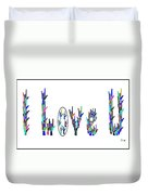 American Sign Language I Love You On White Duvet Cover