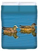 American Wigeon Pair Swimming Duvet Cover
