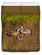 American Wigeon Pair Together Duvet Cover