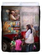 Americana - Vendor - Serving Chocolate Ice Cream Duvet Cover
