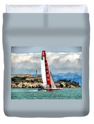 America's Cup And Alcatraz Ll Duvet Cover