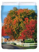 Amish Barn In Autumn Duvet Cover