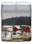 Amish Barn In Winter Duvet Cover by Dan Sproul