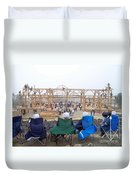 Amish Barn Raising Duvet Cover
