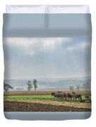 Amish Boy Plowing Duvet Cover