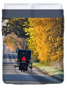 Amish Buggy And Yellow Leaves Duvet Cover