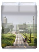Amish Buggy Confronts The Modern World Duvet Cover