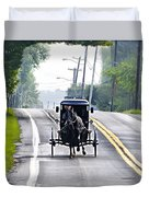 Amish Buggy In Lancaster County Pa. Duvet Cover