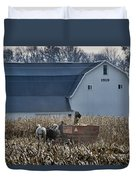 Amish Corn Picking And 1919 Barn Duvet Cover