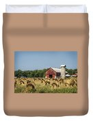 Amish Country Wheat Stacks And Barn Duvet Cover