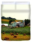 Amish Farm On Laundry Day Duvet Cover