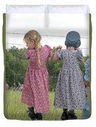Amish Girls Having Fun Duvet Cover