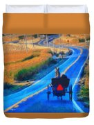 Amish Horse And Buggy In Autumn Duvet Cover
