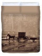 Amish Horse And Buggy With Wagon Bw Duvet Cover