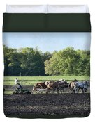 Amish Plowing Field Duvet Cover
