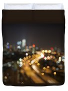 Ampang Kuala Lumpur City Skyline At Night Blurred Background Duvet Cover
