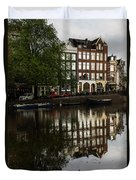 Amsterdam Canal Houses In The Rain Duvet Cover