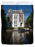 Amsterdam Canal Mansions - Bright White Symmetry  Duvet Cover