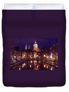 Amsterdam In The Netherlands By Night Duvet Cover
