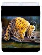 Amur Leopard  Spotted Something Duvet Cover