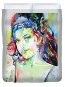 Amy Winehouse Watercolor Portrait.1 Duvet Cover