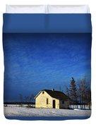 An Abandoned Homestead On A Snow Duvet Cover by Steve Nagy