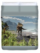 An Acrocanthosaurus Roams An Early Duvet Cover by Arthur Dorety