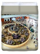 An Aerial View Of The Marina Bay Sands Hotel Lobby Singapore Duvet Cover