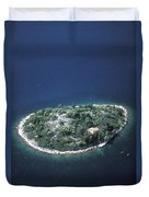An Aerial View Of Two Kayakers Paddling Duvet Cover