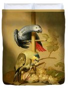 An African Grey And An Orange Winged Amazon Parrot On  A Perch With Grapes Duvet Cover