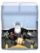 An Aircraft Director Signals Duvet Cover by Stocktrek Images