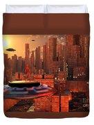 An Alien Race Migrating Duvet Cover by Mark Stevenson