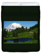 An Alpine Lake Foreground Mt Rainer Duvet Cover