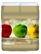 An Apple A Day With Proverbs Duvet Cover