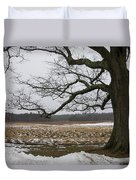 An Appleton Tree And Field In Winter Duvet Cover