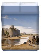An Arab Caravan Outside A Fortified Town Duvet Cover by Jean Leon Gerome