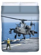 An Army Ah-64d Apache Helicopter Duvet Cover