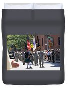 An Army Battalion Marching In The 200th Anniversary St. Patrick Old Cathedral Parade Duvet Cover