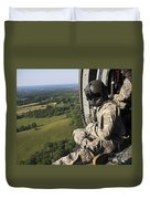 An Army Crew Chief Looks Out The Door Duvet Cover