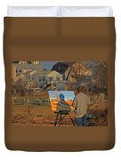 An Artist At Work Duvet Cover by Karol Livote