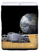 An Artists Depiction Of A Lunar Base Duvet Cover