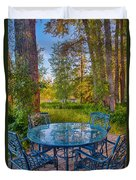 An Early Morning On The Deck At Cottonwood Cottage Duvet Cover