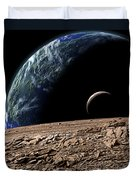 An Earth-like Planet In Deep Space Duvet Cover by Marc Ward
