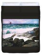 An Egret's View Seascape Duvet Cover