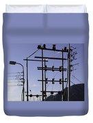 An Electric Transmission Pole In The Himalayas Duvet Cover