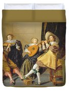 An Elegant Company Playing Music In An Duvet Cover by Dirck Hals
