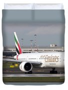 An Emirates Boeing 777 At Milano Duvet Cover