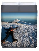 An Exhausted Climber Lies On The Summit Duvet Cover