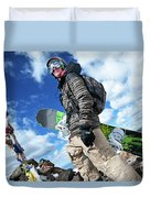 An Extreme Snowboarder Stands Duvet Cover